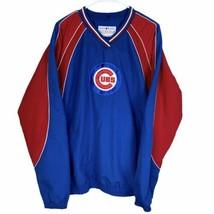 Chicago Cubs V-Neck Pullover Jacket Men's Large Blue Red Genuine MLB Spell Out - $39.50
