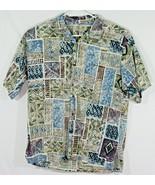 Kona Kai Trading Company Mens Large Hawaiian Shirt Tribal Print Blue Gre... - $32.73