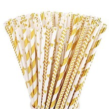ALINK Biodegradable Gold Paper Straws Bulk, Pack of 100 Metallic Foil St... - $10.04