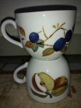 "Royal Worcester Evesham (2) Cups 2 5/8"" Tall Fruit Gold (more available) - $14.17"