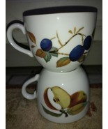 """Royal Worcester Evesham (2) Cups 2 5/8"""" Tall Fruit Gold (more available) - $14.17"""