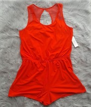 Gilligan & O'Malley Women's Coral Red Sleepwear Romper Size Large NWT Sheer Back - $11.29