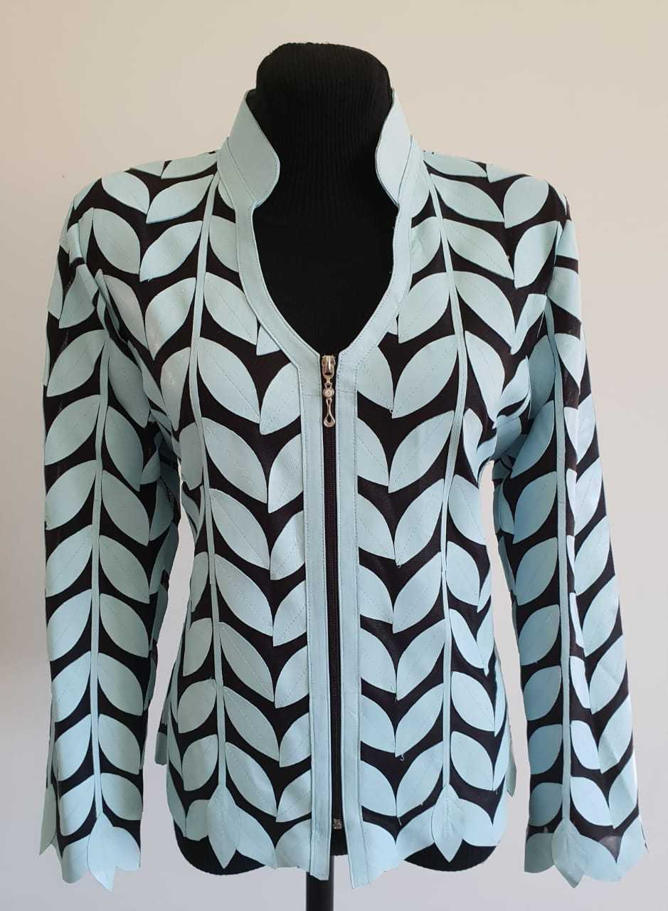 V Neck Light Blue Genuine Leather Leaf Jacket Womens All Sizes Zipper Short D7