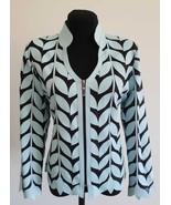 V Neck Light Blue Genuine Leather Leaf Jacket Womens All Sizes Zipper Sh... - $150.00