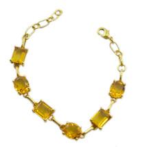 attractive Citrine CZ Gold Plated Yellow Bracelet genuine gemstones US gift - $24.74