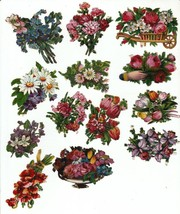 Vintage Victorian diecut scrap lot embossed tole painting flowers floral... - $19.79