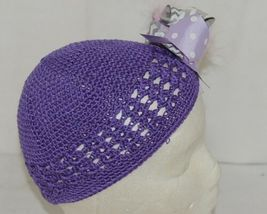 Unbranded Infant Toddler Purple Hat Stretch Removable Bow Multicolor image 3