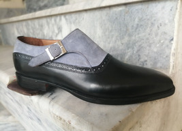 Mens Gray Black Two Tone Handmade Genuine Leather One Piece Monk Strap Shoes - $139.99+