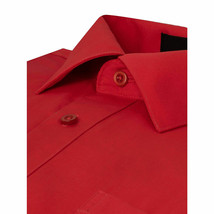 Berlioni Italy Men Red Classic French Convertible Cuff Solid Dress Shirt - L image 2