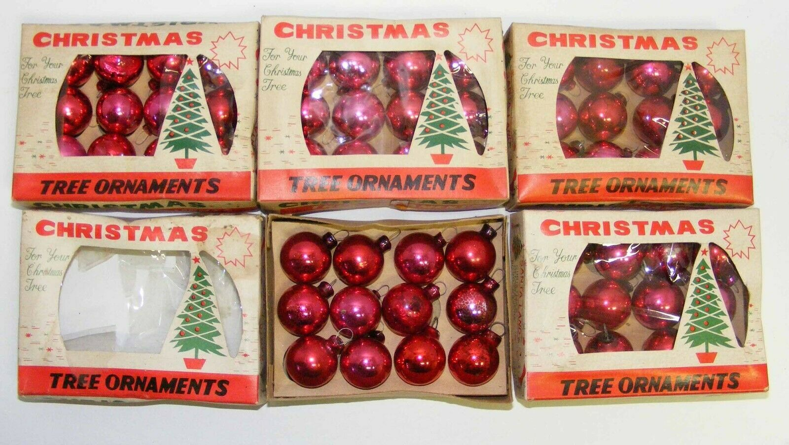 "Primary image for 5 Boxes RED 1"" Mini Glass Christmas Ornaments"