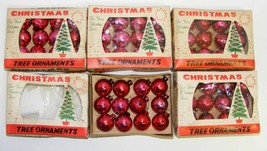 "5 Boxes RED 1"" Mini Glass Christmas Ornaments - $50.00"