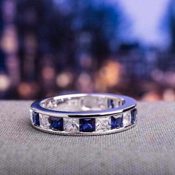 Primary image for 2Ct Princess Cut Blue Sapphire Wedding Band Engagement Ring 14K White Gold FiN