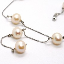 Necklace White Gold 750 18k, Pearls Pink Fishing, with Hanging Charm, Chain image 2