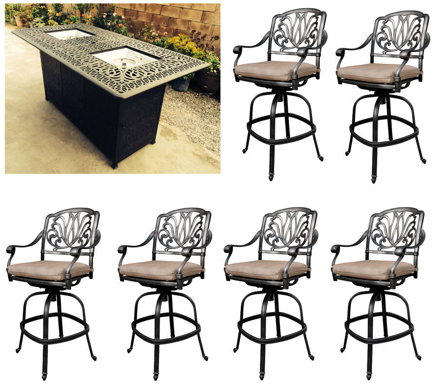 Outdoor propane fire pit table Elisabeth bar stools cast aluminum furniture