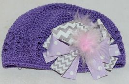 Unbranded Infant Toddler Purple Hat Stretch Removable Bow Multicolor image 4