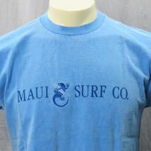 Vintage Crazy Shirts Maui Surf Co. Blu Medio Made in Hawaii Ricamato Gecko - $28.97