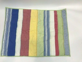 Pottery Barn Kids Pillow Sham Stripe Check Gingham Patchwork Primary Blue Red  - $29.69