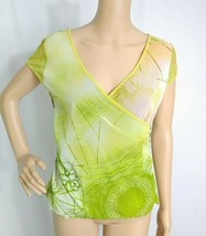 Anthropologie Anac by Kimmy V-neck Mesh Knit Top L Green Orange Ethnic P... - $7.70