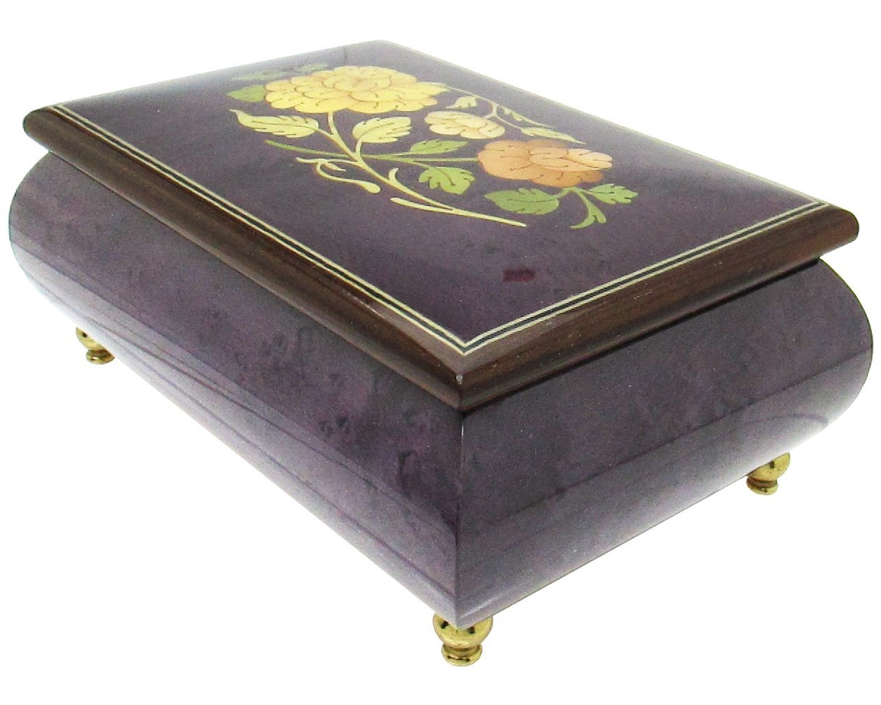 "Primary image for Italian Music Box, 6"", Floral Inlay, Plum"
