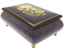 "Italian Music Box, 6"", Floral Inlay, Plum - $219.95"