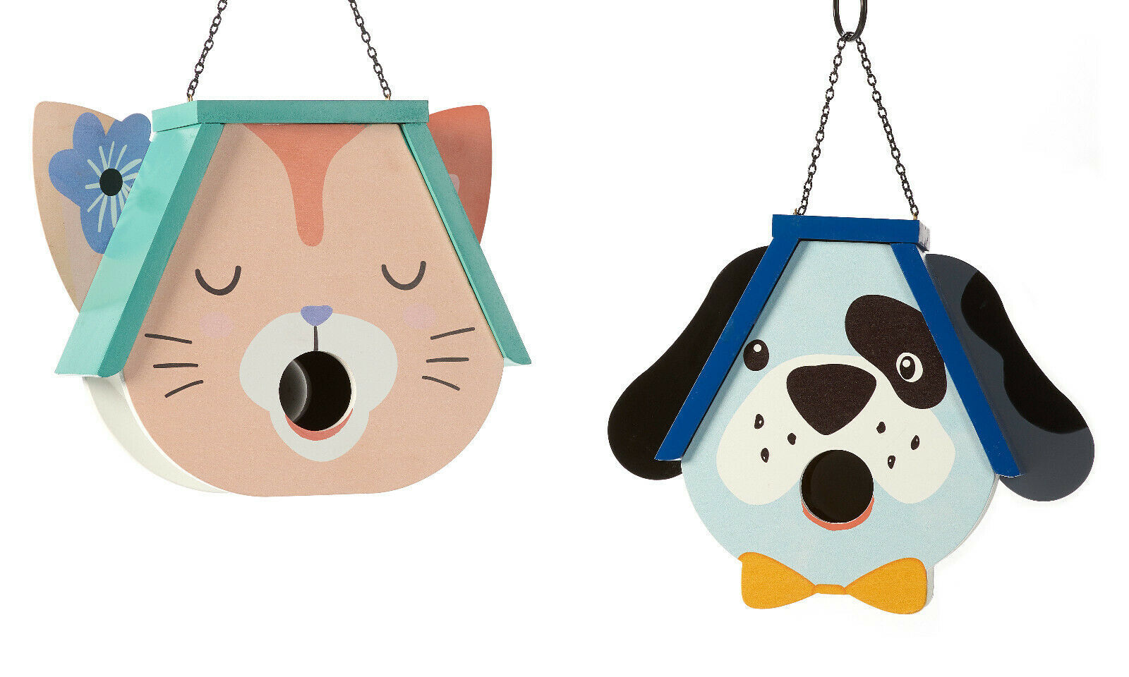 Pet Head Shaped Bird House Detailed w Hole at Mouth - Choice of Dog or Cat Head