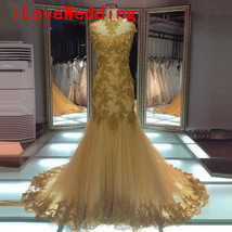 Real Mermaid Wedding Dresses Formal Gold Tulle Beading Backless Bridal G... - $136.22