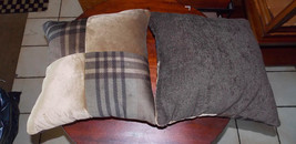 Pair of Beige Brown Abstract Print Patchwork Print Throw Pillows  17 x 17 - $49.95