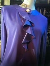 OLEG CASSINI EMPORIO Vintage Poppin Purple Blouse Size 12 - $22.77