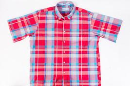 Levis Colorgraphs Vintage Mens Plaid Shirt Red Blue Short Sleeve Size Large - $20.29