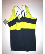 New Womens Athleta Top M Tank Yoga Gym Pilates Bra Dark Blue Gold Yellow... - $27.60