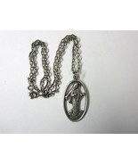 Vintage Silvertone Metal OUR LADY OF MEDUGORJE Cut-out Medal Pendant -16... - $7.99
