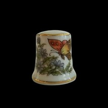 Vintage Butterfly Floral Thimble Made In Japan Collectible  - $9.89