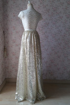 Gold Sequin Maxi Skirt Women Plus Size Sequin Maxi Skirt Sparkly Skirt image 5
