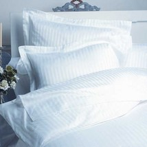 WHITE STRIPE QUEEN SIZE 800 THREAD COUNT 100% EGYPTIAN COTTON BED SHEET SET - $55.44