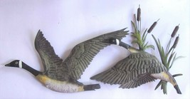 "In Flight Canadian Geese w/Cattails / Metal Art / Wall Decor 19"" Wide  W... - $14.00"