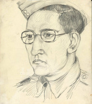 Peter Collins ARCA - c.1970s Graphite Drawing, Portrait of a Military Man - $23.35