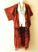 CD436 Abstract Boho Cardigan Duster Kimono Plus Long Hippie Jacket - 3X,... - $29.60