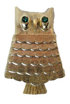 Retro 1960s Avon OWL Solid Perfume Brooch Pin Green Eyes Vtg Gold Tone - $9.00