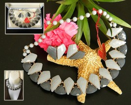 Vintage Western Germany Necklace Earring Set Faceted Plastic Gray Box  - $32.95