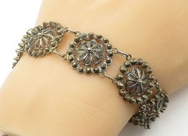 925 Sterling Silver - Vintage Wire Swirl Filigree Flower Chain Bracelet ... - $45.89