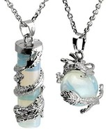2pc Dragon Wrapped Opalite Round Ball Cylinder Gemstone Healing Crystal - $46.13