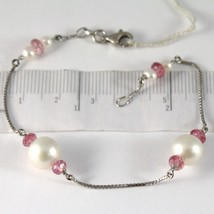 BRACELET WHITE GOLD 750 18K, WHITE PEARLS 9 MM, TOURMALINE RED, CHAIN VENETIAN image 1