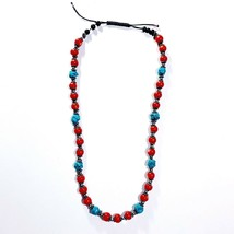 Asian Inspired Ethnic Necklace Red & Turquoise Beads Beading - $11.99