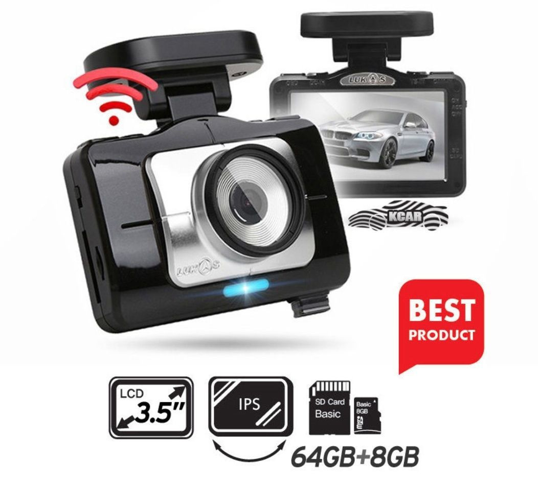 "Lukas LK-9370 Blackbox Dash Camera 2CH Full HD Wi-Fi 3.5""LCD Dual 64Gb+8Gb+GPS"