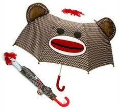 """Sock Monkey Umbrella For Rainy Days ( 23"""" Tall 28"""" Wide ) Adored by All ... - $19.26"""