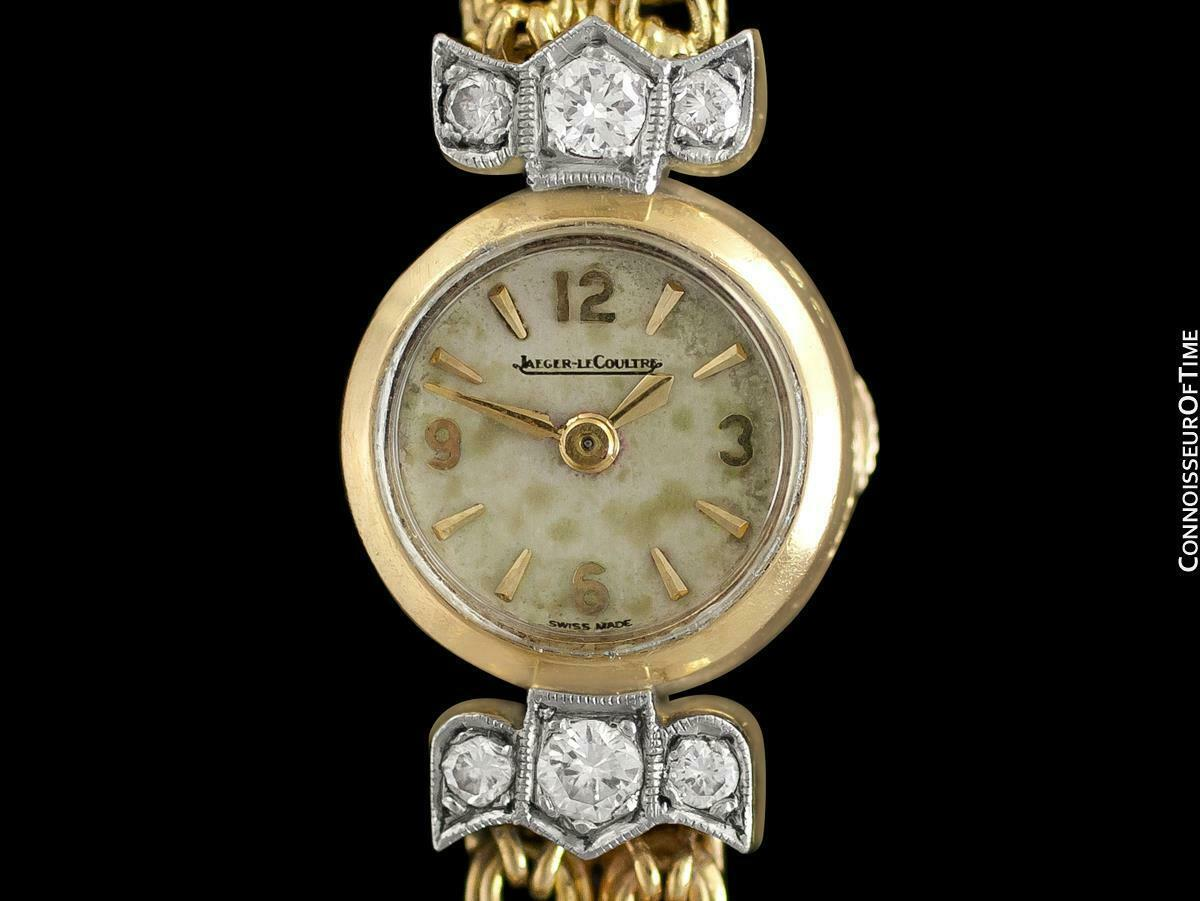 1950's JAEGER-LECOULTRE Vintage Ladies Backwind 18K Gold & Diamond Watch - Warra image 4