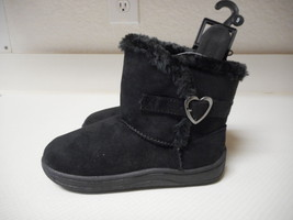Garanimlas Infant Girls Black Fur Boots Heart Buckle Shoes Size 2 NEW - £9.55 GBP