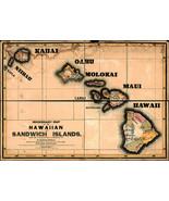 1846 Missionary Map Hawaiian Sandwich Islands Wall Art Poster Decor Hawa... - $12.38