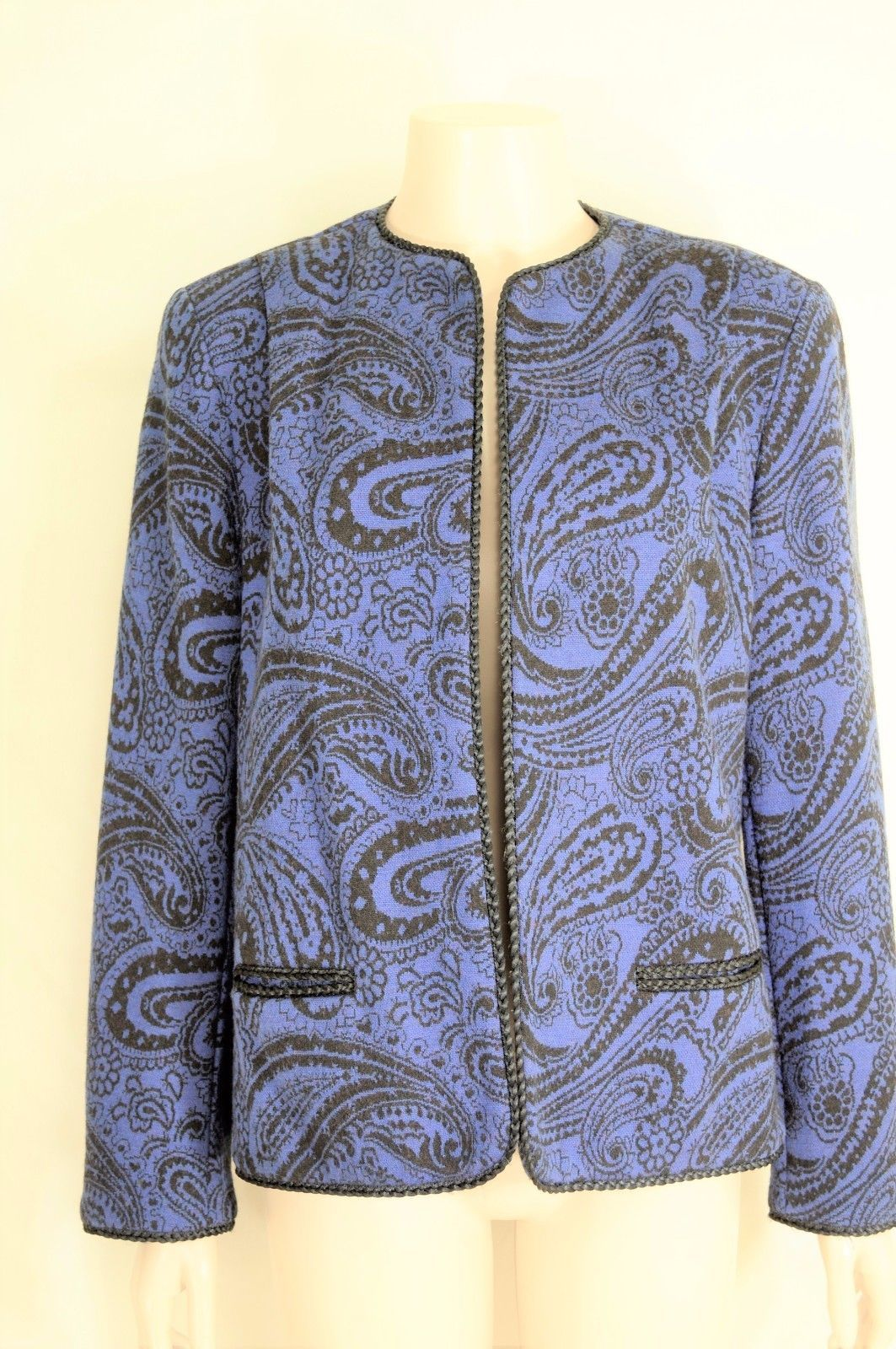 Bleyle jacket vintage M? wool blue black paisley print cropped career lined USA