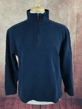 Polo Ralph Lauren Pullover 1/4  Zip 100% Cotton Blue Sweater Men's M - $25.73